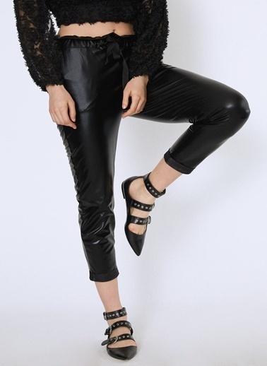 Quzu Quzu Beli Bağlamalı Cepli Siyah Pantolon Siyah